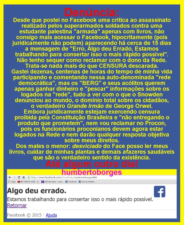 Denúncia à censura do Facebook